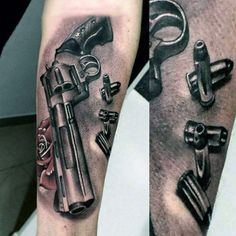 Realistic Hollow Point Bullets Tattoos On Mans Forearm