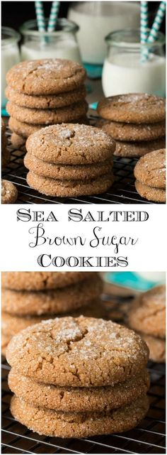 These delicious, one-bowl, no-mixer Sea Salted Brown Sugar Cookies have crispy edges and moist chewy centers! via @cafesucrefarine