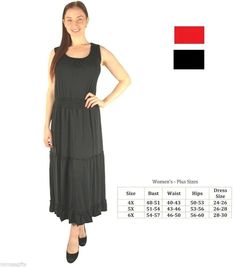 Plus Size Tiered Maxi Day Evening Wear Sleeveless Dress Black Red Maxi Dresses Uk, Maxi Dress With Sleeves, Plus Size Dresses Uk, Maxi Dress Wedding, House Dress, Special Occasion Dresses, Night Gown, Plus Size Women, Red