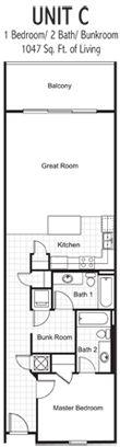 Floor plan of 1 bed/2 bath long term rental at Laketown Wharf