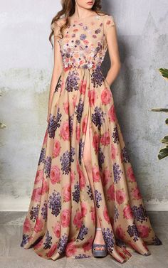 Floral applique silk gown by Luisa Beccaria