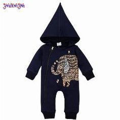 [ 22% OFF ] New Spring Autumn Jumpsuit High-Quality Baby Clothes Girs Boys Baby Rompers Hooded Elephant Long Sleeve Infantil Newborn Clothes