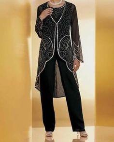 Women's mother of b groom wedding black duster pant set suit plus w - Maila Outfits Plus Size, Plus Size Womens Clothing, Black Suit Wedding, Black Bride, Wedding Pantsuit, Dress Wedding, Wedding Bouquets, Wedding Flowers, Wedding Groom