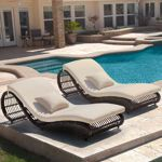 Viera Lounger 2 Loungers, All-weather Woven Resin Wicker with Sunbrella® Fabric Cushions Poolside Furniture, Wicker Patio Furniture, Patio Chairs, Beach Chairs, Backyard Patio, Outdoor Pool, Outdoor Decor, Outdoor Ideas, Backyard Ideas