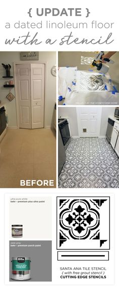 Cutting Edge Stencils shares how to stencil a dated linoleum floor using the Santa Ana Tile Stencil Painting Linoleum Floors, Linoleum Flooring, Painted Floors, Kitchen Flooring, Plywood Floors, Wood Flooring, Bar Design, Design Studio, Floor Design