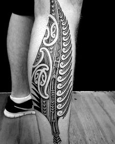 Mens Polynesian Tribal Leaf Fern Tattoo On Side Of Legs