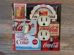 Kitchen Diner Theme Decor Lighting Light Switch Outlet Cover Combo Plate Made From A Vintage Coke Cola Tin OLC-1158C-L on Etsy, $34.00