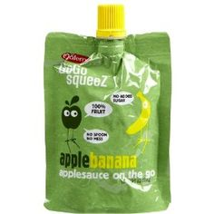 GoGo Squeez Applesauce Pouches from Materne. Apple/Apple, Apple/Cinnamon, Apple/Peach, Apple/Banana, Apple/Strawberry