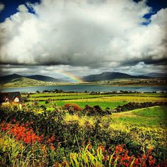 Rainbow over Valentia Island, one of Ireland's most westerly points lying off the Iveragh Peninsula in the south-west of County Kerry
