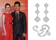 The Chinese actress Guan Yue with her husband, Tong Dawei, actor too, in the Festival. She wears Magic Alhambra earrings in white gold and diamonds, and a ring in white gold and diamonds from the Oiseaux de Paradis collection. All designed by Van Cleff & Arpels.