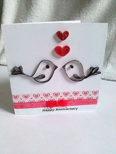Quilled birds and hearts anniversary card by KaisCards on Etsy, £3.00