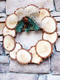 Wood Tree Slice Christmas Wreath Rustic by RefunkedJunkies on Etsy