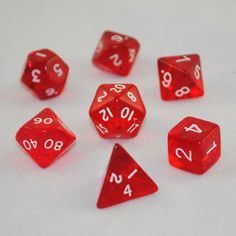 Translucent Red Dice Set - RPG Tabletop Board Games