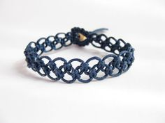 Instant Download Easy Navy Blue Macrame Knotted by Knotonlyknots