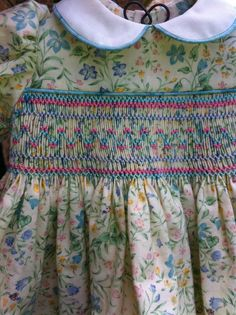 Original smocking design on a doll dress I just completed.