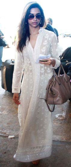 White long dress with chikan work