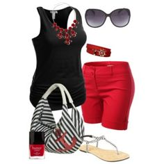 Love this. Not feelin the red shorts tho. Dark denim shorts or skinnys for sure.