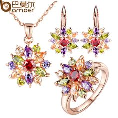 BAMOER  Rose Gold Plated #Jewelry #Sets for Women with High Quality Multicolor AAA Zircon Wedding & Engagement Jewelry Aliexpress