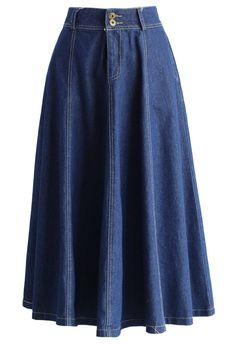 Swing Denim A-line Midi Skirt - New Arrivals - Retro, Indie and Unique Fashion