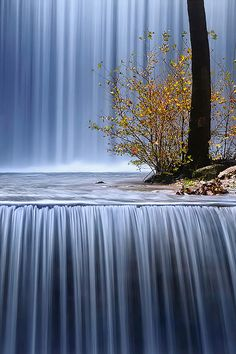 Palaiokaria Waterfall, Trikala, Greece.  It looks like draped fabric.  I'm in awe.