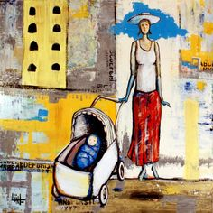 """Jesse Link - """"Mother with Carriage"""" Acrylic on Wood Link Art, Art Festival, Art Music, Wood, Painting, Woodwind Instrument, Timber Wood, Painting Art, Wood Planks"""