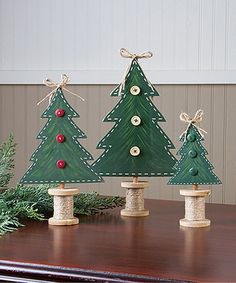 Handcrafted Reversible Pine Décor - Set of Three #zulily #zulilyfinds