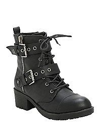 HOTTOPIC.COM - Black Double Buckle Boots