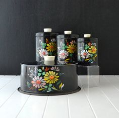 Black Kitchen Canisters  Ransburg Metal Ware  Black by KOLORIZE, $95.00