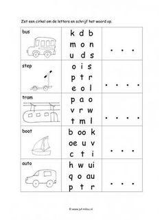 Werkblad verkeer - Letter en woordherkenning Abc For Kids, Working With Children, Games For Kids, Visually Impaired Activities, School Boy, School Hacks, Craft Activities For Kids, Kindergarten Worksheets, Kids Learning