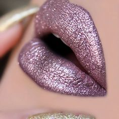 "NYE Glitta Lips?! Ahhh.... yessss! @nyxcosmetics ""Embellishment"" Lingerie Liquid Lipstick + ""Rose"" Glitter on top"