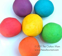 Home Made Playdough  Basic ingredient ratios:  2 cups flour  2 cups warm water  1 cup salt  2 Tablespoons vegetable oil  1 Tablespoon cream of tartar (optional for improved elasticity)    food coloring (liquid, powder, or unsweetened drink mix)  scented oils