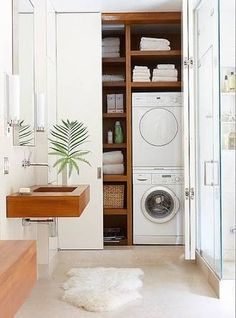 Image result for concealed laundry in bathroom