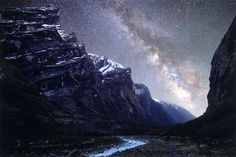 This photo is taken in the highest mountains in the world - Himalayas. On the photo is Mardi Khola valley and beautiful Milky Way above it Nepal, Himalayas, Annapurna region, nearby Machhapuchre Base Camp m) Photo by: Anton Jankovoy Image Nature, All Nature, Top Of The World, Wonders Of The World, Nepal, Trek The Himalayas, Camping 3, To Infinity And Beyond, Milky Way