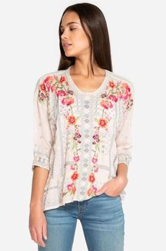 Johnny Was Carnation Blouse Dusty Pink Johnny Was, Geometric Designs, Carnations, Dusty Pink, Black Blouse, Floral Tops, Feminine, Sleeves, Clothes