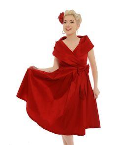 'Amber Lea' Red Taffeta Swing Dress