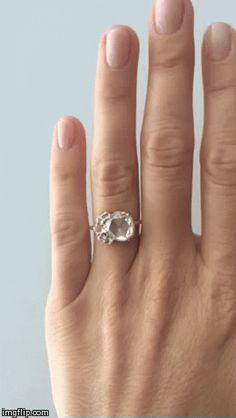 Mociun Custom engagement ring with antique rose cut diamonds