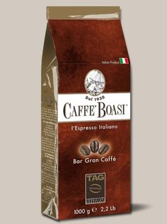 Caffè Boasi Gran Caffè - An intense blend full-bodied but soft. Result of the selection of sweets, refined and smooth Brazilian and Central America and selected Asian coffee. PACKAGES: 1000 gr
