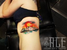 Colorado Landscape Tattoo By Mr. Ace ' A custom tattoo artist from California , representing in the state of Colorado. Mr. Ace quickly moving to one of the top tattoo artist in Colorado by his skil...