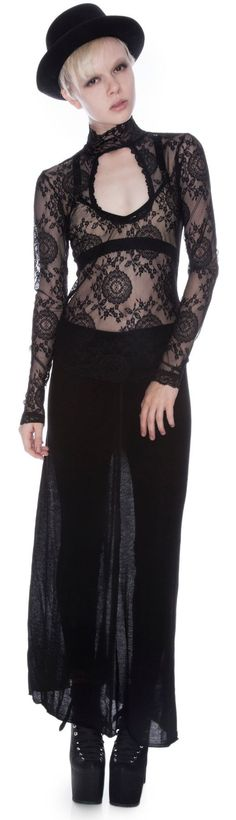 Lip Service Black List Stretch Lace Long Sleeve Top $59