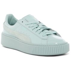 PUMA Basket Platform Patent Sneaker ($45) ❤ liked on Polyvore featuring shoes, sneakers, blue, laced up shoes, blue sneakers, puma shoes, platform sneakers and platform shoes