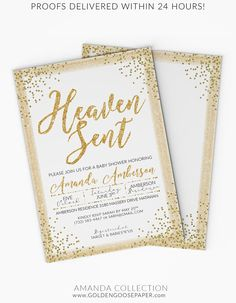 White and Gold Baby Shower Invitation - Heaven Sent Baby Shower Invitation - Elegant Baby Shower