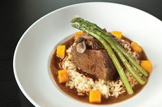Braised beef short rib with risotto-style orzo, asparagus, butternut squash and mushrooms - PHOTOS BY HEATHER MULL