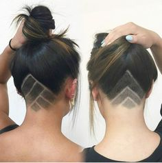 Two unique undercut designs by Kendall. #undercut #etching #hair