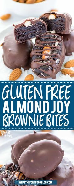 Gluten Free Almond Joy Brownie Bites Gluten Free Almond Joy Brownie Bites – these are a remix of my favorite candy bar and brownie pops! Dip them completely in chocolate or dip and drizzle, your choice! Recipe from What The Fork Brownie Desserts, Oreo Dessert, Mini Desserts, Coconut Dessert, Brownie Recipes, Easy Desserts, Cookie Recipes, Chocolate Recipes, Baking Recipes