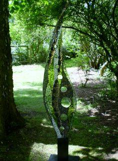 Dovedale Art Of Glass, Fused Glass Art, Glass Wall Art, Stained Glass Art, Mosaic Garden Art, Mosaic Art, Outdoor Sculpture, Outdoor Art, Mirror Mosaic