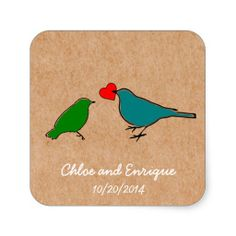 Birds And Love Heart Cute Personalized Wedding