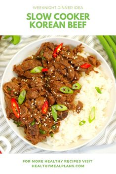 This easy recipe only takes 5 minutes to prep and is the perfect dinner recipe for busy weeknights. Simply add all of the ingredients to your slow cooker in the morning and leave everything to stew throughout the day! Clean Eating Recipes, Healthy Dinner Recipes, Healthy Eating, Slow Cooker Freezer Meals, Pressure Cooker Recipes, Slow Cooker Korean Beef, Beef Recipes, Recipies, Recipe Details
