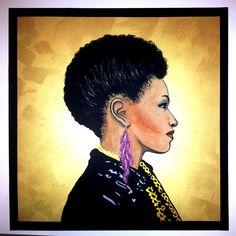 Miss T (acryl, gold paste, pastel on canvas) by Edl Art Pastel, Portrait, Canvas, Gold, Tela, Cake, Men Portrait, Portrait Illustration, Canvases