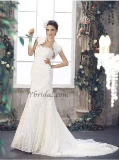 CLICK IMAGE TWICE FOR PRICING AND INFO:) #women #womendresses #eveninggown #cocktaildress #wedding #weddinggown #eveningdresses #prom #debut #partydress #bridesmaid SEE MORE strapless womens dresses at http://www.zbrands.com/Strapless-Womens-Dresses-C60 Elegant Sheath Strapless Lace Sweep Train Wedding Dress WSC06340-L