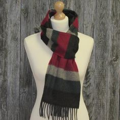 Color: Dark brown, ruby red, dark green and sand horizontal stripes.long stylish scarf measures